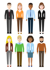 Group of working people diversity, diverse business men and business women standing on white background. Vector illustration of flat design people characters.