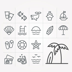 Linear icons of rest on sea