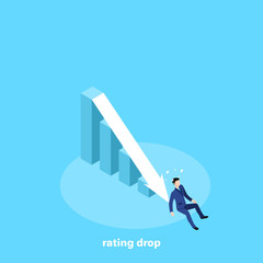 the man in a business suit fell to the bottom of the chart, an isometric image