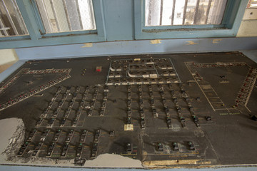 Control panel inside guard station in prison