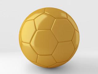 Golden soccer ball on white 3D rendering
