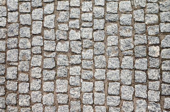 Top view of an old cobblestone street