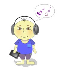Cartoon character boy listening to music on headphones