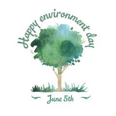 Happy environment day. 5 june. watercolor tree