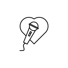 microphone and heart icon. Element of wedding for mobile concept and web apps illustration. Thin line icon for website design and development, app development. Premium icon