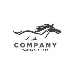 abstract body horse running art logo