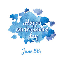 lWorld Environment Day - letitering on a background of a cloud