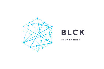 Template label for blockchain technology. Hexagon with connected lines for brand, label, logo, logotype of smart contract block symbol. Design for decentralized transactions. Vector Illustration