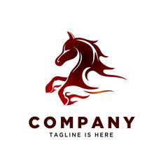 power fast fire running horse logo
