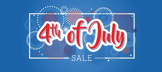 Fourth of July. 4th of July holiday banner. USA Independence Day banner for sale, discount, advertisement, web etc
