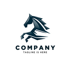 Abstract fast running horse logo