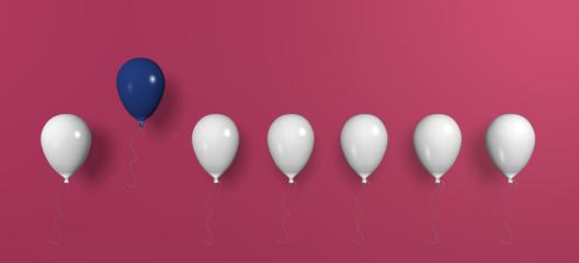 Konzept: aus der Masse absetzen mit pinken Hintergrund, 3d rendering