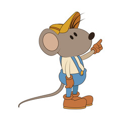 Worker mouse cartoon vector illustration graphic design