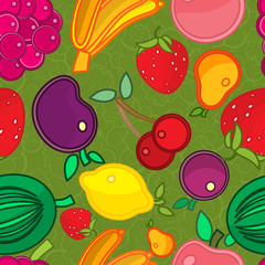 Seamless pattern. Infinite texture. fruit on a background of leaves and twigs.