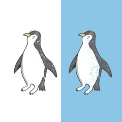 Penguin character vector illustration drawing geometric cute animal polar birds funny sea life color white and black Antarctica penguins winter on white background