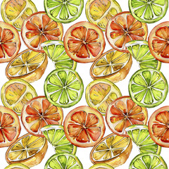 Exotic citruses healthy food in a watercolor style pattern. Full name of the fruit: citruses. Aquarelle wild fruit for background, texture, wrapper pattern or menu.