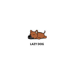 Lazy dog, cute Thai Ridgeback puppy sleeping icon, vector illustration