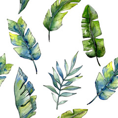 Tropical green lesves  in a watercolor style pattern. Aquarelle leaf for background, texture, wrapper pattern, frame or border.