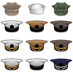 Military Hats Vector Illustration
