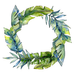 Tropical green lesves  in a watercolor style frame. Aquarelle leaf for background, texture, wrapper pattern, frame or border.