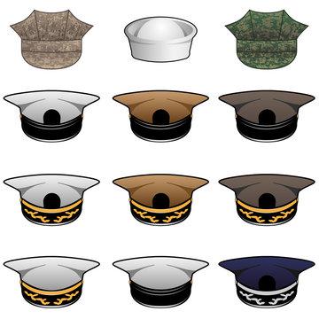 Military Hats Vector Illustration