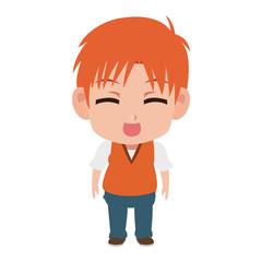 Cute manga boy children cartoon vector illustration graphic design