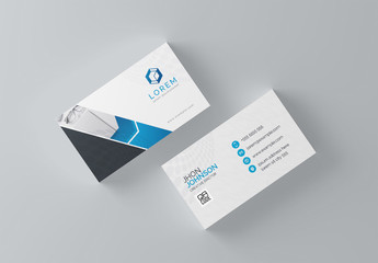 Business Card Layout with Blue Geometric Designs