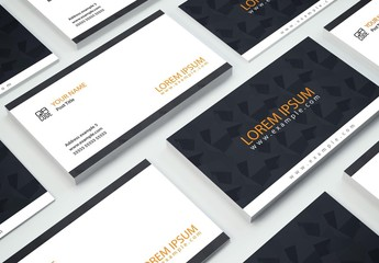 Dark Gray and Orange Business Card Layout