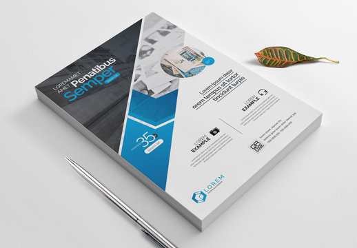 Flyer Layout with Blue Geometric Designs