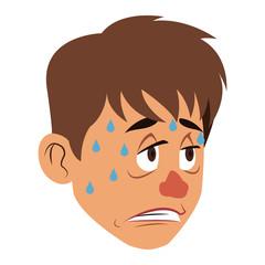 Sick man face cartoon vector illustration graphic design