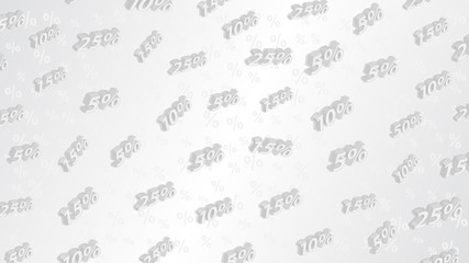 Sale and discount background with isometric inscriptions, in gray colors