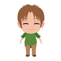 Cute manga boy children cartoon vector illustration graphic design