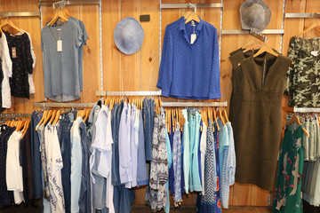 Variety of clothes hanging on rack in boutique interior view of women clothing store