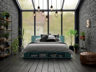 Bedroom interior design 3D rendering