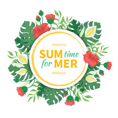 Time for summer. Flowers and buds of hibiscus, leaves and flowers of  monstera, palms. Tropical template design with round frame. Vector illustration on white background