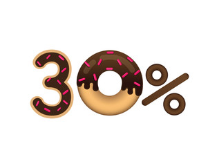 Sale 30 percent and discount price. Lettering made in the form of a donut with glaze isolated on white background. Sale of food. Shopping and low price symbol. Vector.