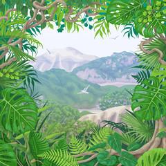 Tropical Frame on Green Landscape