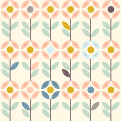 Floral pattern with abstract scandinavian flowers, folk ornaments. Seamless background. Yellow, gray, pastel pink. Vector illustration