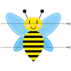 A game for children of preschool age. Cut the picture into pieces. Fold in the right order. Mosaic. cartoon honey bee