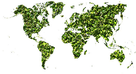 World map cut out in green leaves