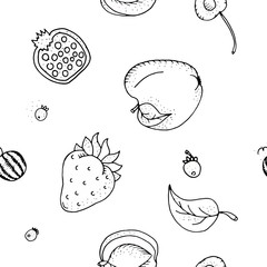 Fruit seamless pattern.Black and white contour monochrome.