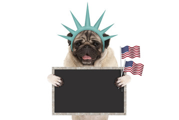 smiling pug puppy dog holding up American flag and blank blackboard sign, wearing lady Liberty crown, isolated on white