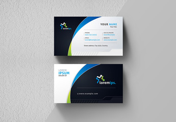 Business Card Layout with Gradient Curve Design