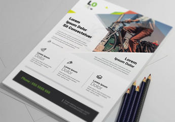 Flyer Layout with Diagonal Photo Placeholder