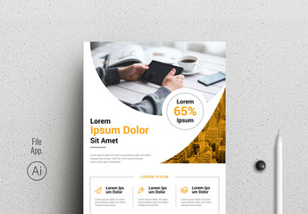 Flyer Layout with Curved Photo Placeholders