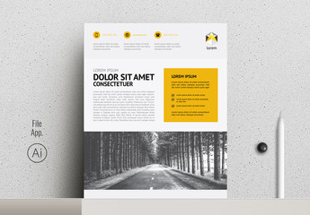 Business Flyer Layout with Yellow Accents