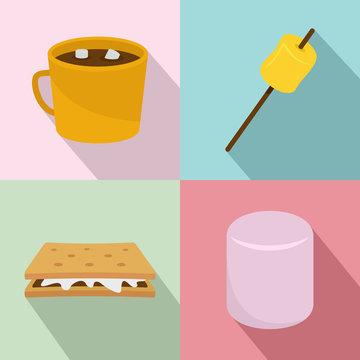Marshmallow smores candy icons set. Flat illustration of 4 marshmallow smores candy vector icons for web