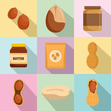 Peanut nuts butter jar icons set. Flat illustration of 9 peanut nuts butter jar vector icons for web