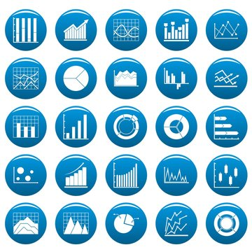 Chart diagram icon set. Simple illustration of 25 chart diagram vector icons blue isolated
