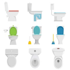 Toilet bowl icons set. Flat illustration of 9 toilet bowl vector icons isolated on white